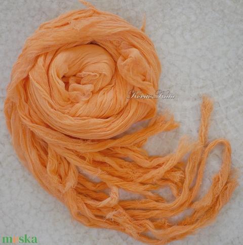 PIXY nimfa-stóla : batikolt, szabdalt géz stóla, sál / narancs  - Meska.hu