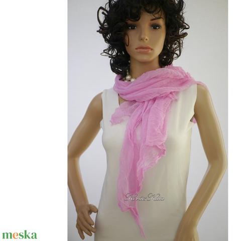 MULL-KENDŐ / pink - batikolt géz sál (brokat) - Meska.hu