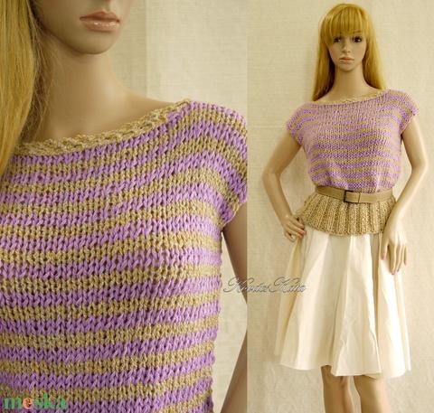 JAZZ / lila-bézs - kézzel kötött romantikus pulóver (brokat) - Meska.hu