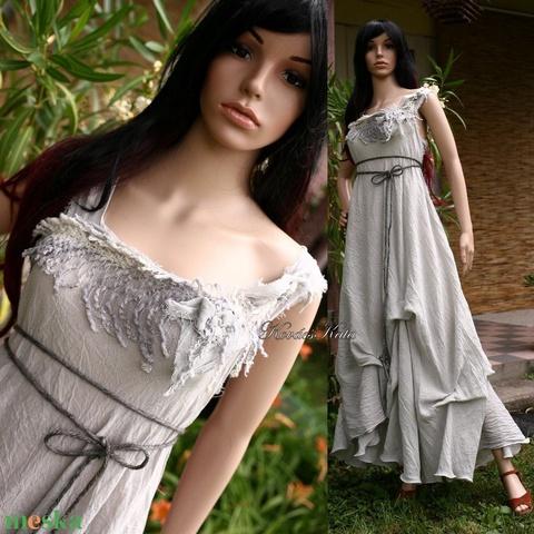 LAGUNA - artsy design - bohém menyasszonyi ruha / ezüstszürke (brokat) - Meska.hu