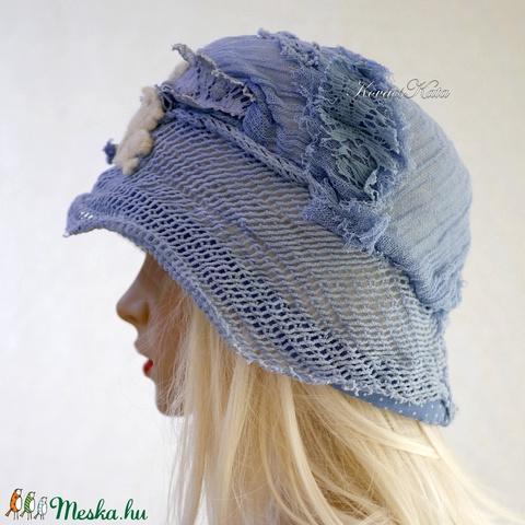 ART DECO - flapper kalap / égkék (brokat) - Meska.hu