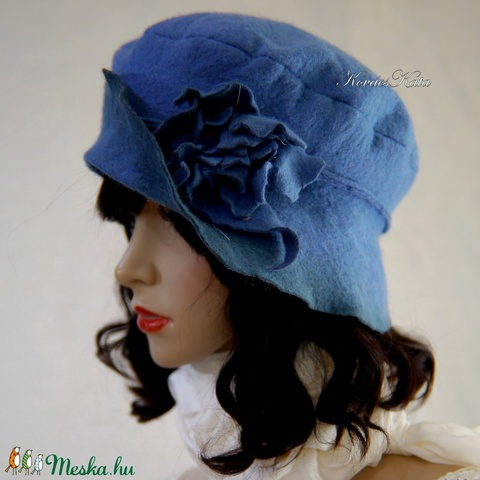 POLLY -  artsy design kalap / kék (brokat) - Meska.hu