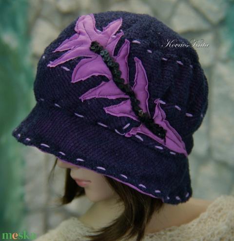 PÁLMA - artsy design kalap / sötétkék-lila (brokat) - Meska.hu