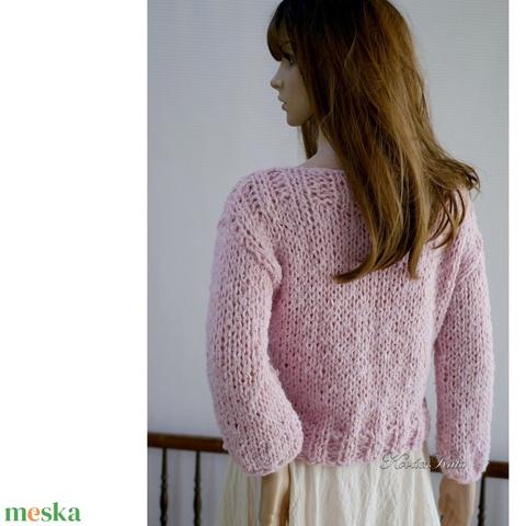 LOTTE - exkluzív kézzel kötött alpaka pulóver / rózsaszín (brokat) - Meska.hu