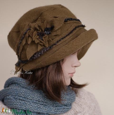 ZORA - bohém design filc kalap / tabak (brokat) - Meska.hu