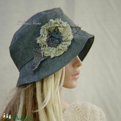 FRIDA cloche L - design flapper kalap / jade (brokat) - Meska.hu