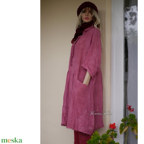 ANTHEA - lagenlook babydoll-ruha / tégla-szín (brokat) - Meska.hu