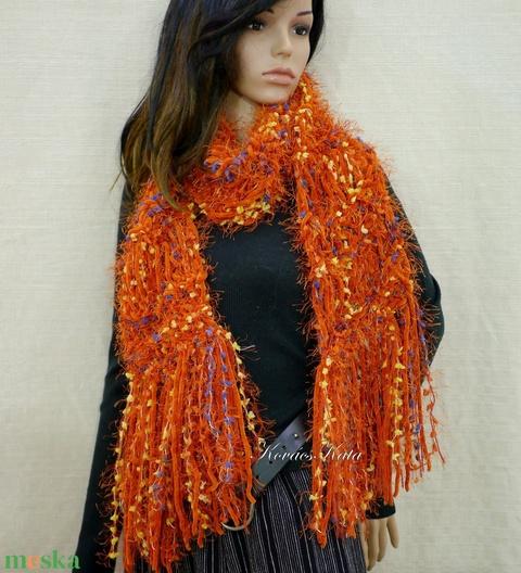 FRINGE SHAWL - extra-vastag kézzel kötött hosszú-rojtos sál / narancs (brokat) - Meska.hu