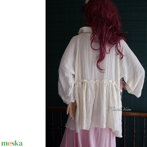 THALIA - lagenlook géz blúz / natúr - ruha & divat - női ruha - blúz - Meska.hu