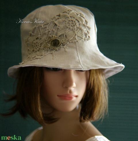 BELLA - romantikus nyári lenvászon kalap - Meska.hu
