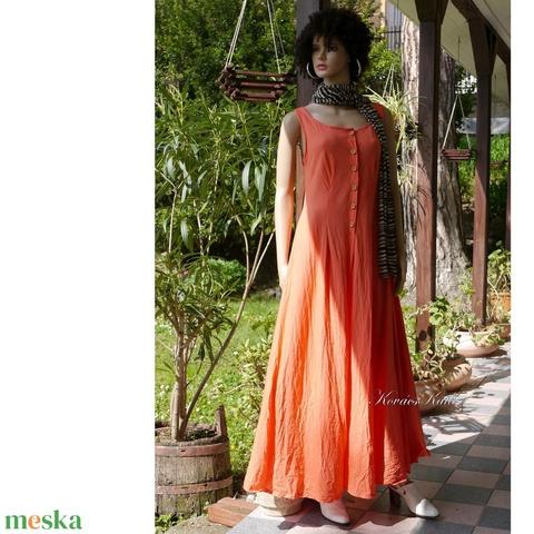 KIRA - romantikus design-ruha / korall - Meska.hu