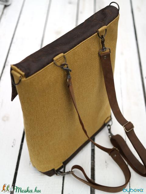 NOCTUA kollekció - mustársárga szövet-barna bőr hátizsák, oldal-, vagy válltáska (buboxa) - Meska.hu