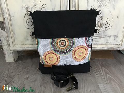 Többfunkciós táska Válltáska ipad táska fekete mandalás-szürke hátizsák sötétszürke állítható hevederrel (BYildi) - Meska.hu