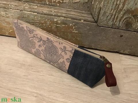 Tolltartó, vászon -farmer bérelt tolltartó, ajándék pedagógus napra, virág mintás tolltartó  (BYildi) - Meska.hu