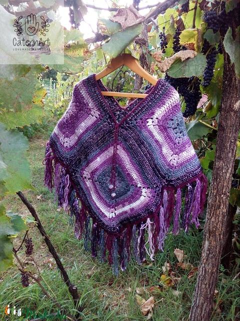 'Purple Rain' horgolt poncsó (CaterinArt) - Meska.hu