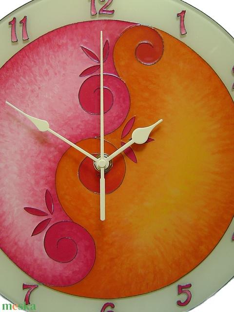 Lélekvirág falióra - napfelkelte - rózsaszín - narancs - Meska.hu
