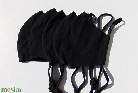 5 db/cs Fekete szájmaszk, textil szájmaszk, többször használható szájmaszk (ChristieHomemade) - Meska.hu