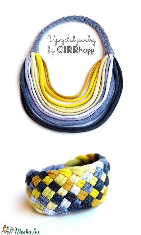 Szürke/sárga BASIC nyaklánc + Tribequa karkötő  (cirrhopp) - Meska.hu