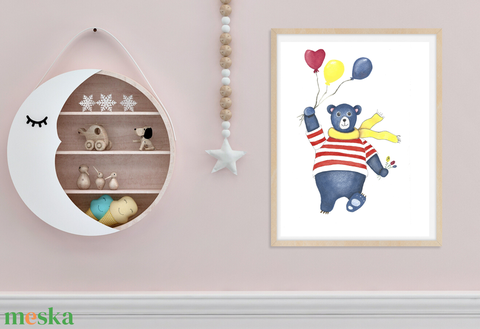 Kék maci sárga sállal falikép szett, vízfestékkel készült falikép szett gyerekszobába, letölthető kép, digitális,  (ClaireLoveArt) - Meska.hu
