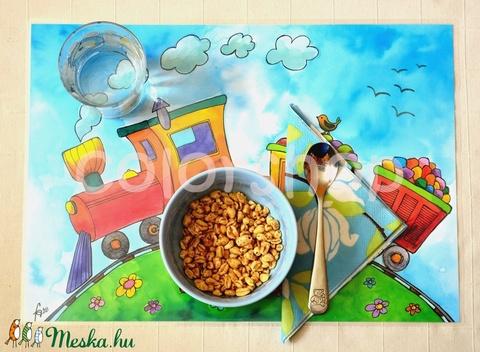 Nagy tányéralátét (A3) - KISVONAT (colorshop) - Meska.hu