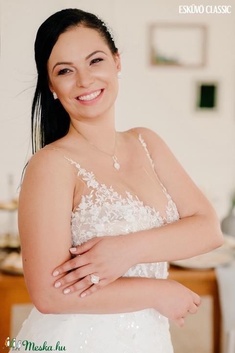 Creabead Design letisztult, egyszerű, mini fehér-színjátszó menyasszonyi ékszerszett - Meska.hu