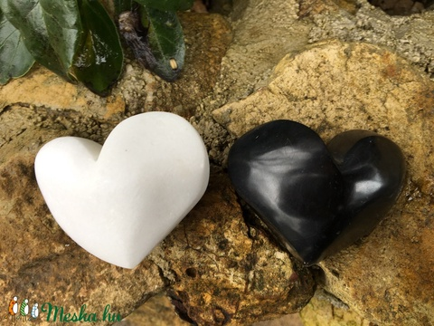 Marble Heart black and white - Meska.hu