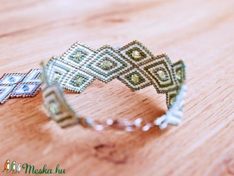 Rhombus Shine - Peyote karkötő - Pastel Green - Meska.hu