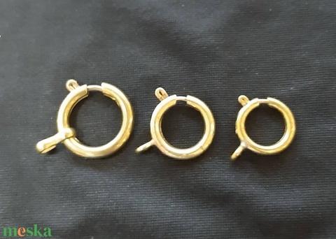 Rugós gyűrű zsebóralánchoz, három méretben, sárgarézből  - Meska.hu