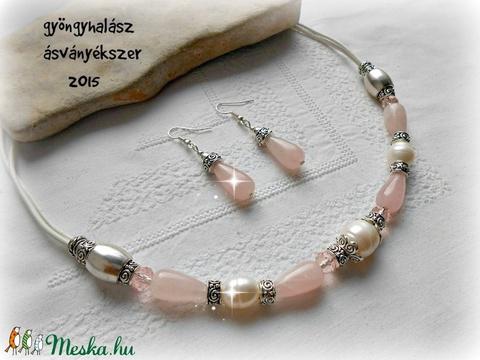 rózsakvarc ,igazgyöngy  szett ásvány lánc +fülbevaló - Meska.hu