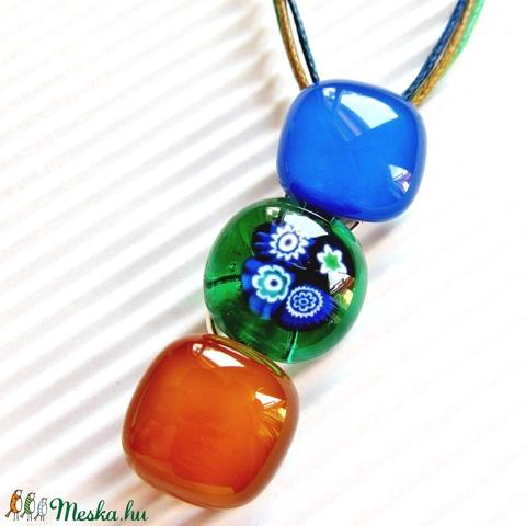 Ég és föld között virág-gyöngysor üveg medál, millefiori, virág üvegékszer - Meska.hu