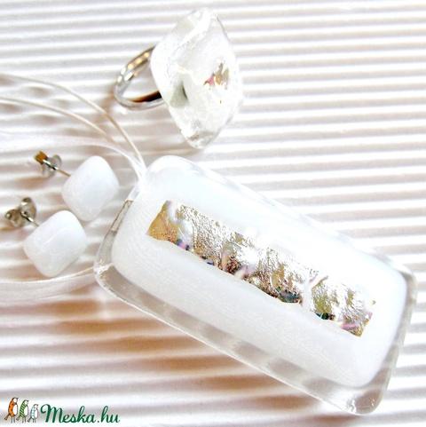 Fehér platina ragyogás maxi üveg medál, üvegékszer - Meska.hu