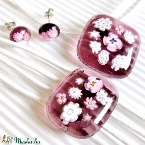 Csipkerózsika üveg medál, üveg-bőr karkötő és virágos fülbevaló, NEMESACÉL, üvegékszer szett - Meska.hu