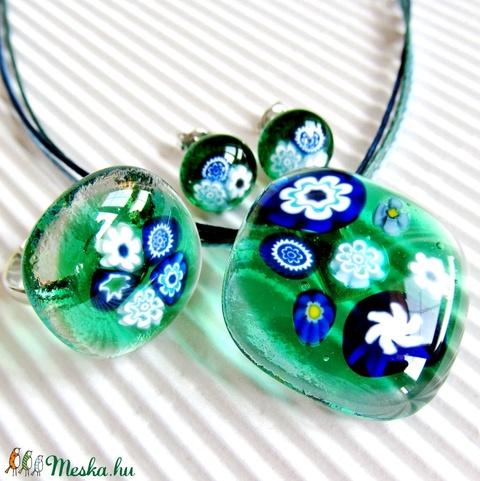Kéknefelejcs zöldben üveg  medál, gyűrű és fülbevaló orvosi fém bedugón, üvegékszer szett - Meska.hu