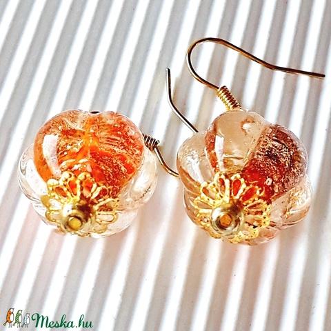 AKCIÓ! - Arany bimbó üveg fülbevaló, üveggyöngy - Meska.hu