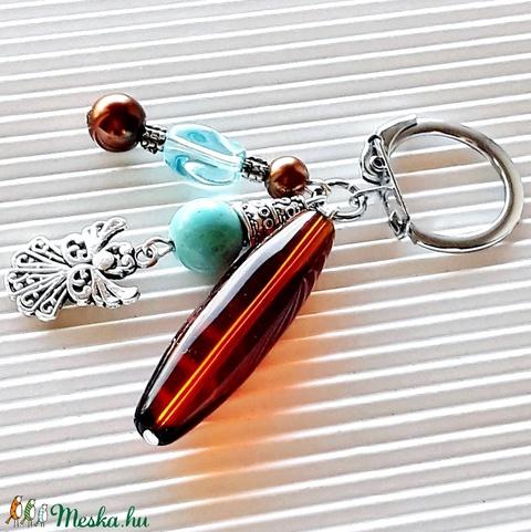 Türkiz angyalka türkinit és üveg gyöngy táskadísz, kulcstartó, gyöngyékszer - táska & tok - kulcstartó & táskadísz - táskadísz - Meska.hu