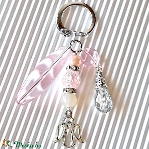 Az én angyalkámnak üveg gyöngy táskadísz, kulcstartó, gyöngyékszer - Meska.hu