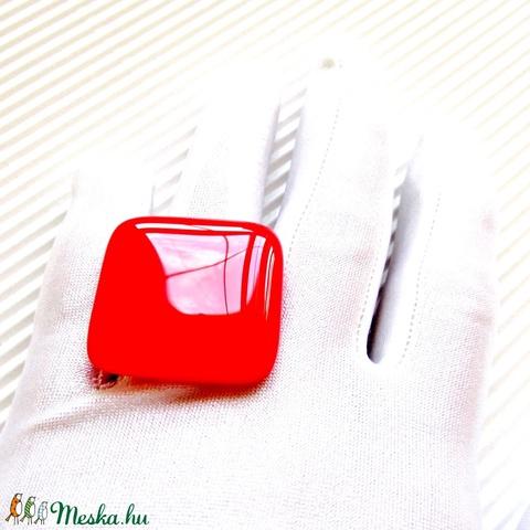 Ferrari piros üveg maxi gyűrű, üvegékszer - Meska.hu