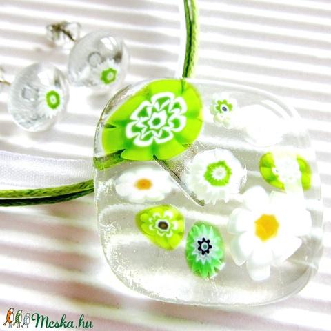 NEMESACÉL: Borsóvirág üveg medál és fülbevaló, millefiori, üvegékszer szett - Meska.hu