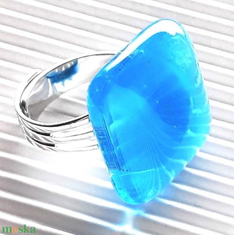 Égszínkék tükörfény üveg gyűrű, üvegékszer - Meska.hu