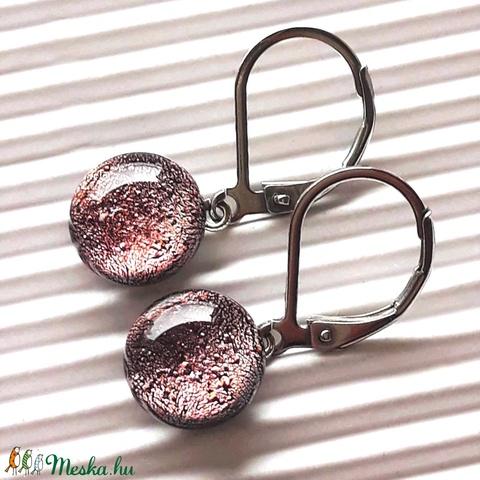 Barackrózsaszín csillogás franciakapcsos dichroic üveg fülbevaló orvosi fém akasztón, üvegékszer - Meska.hu