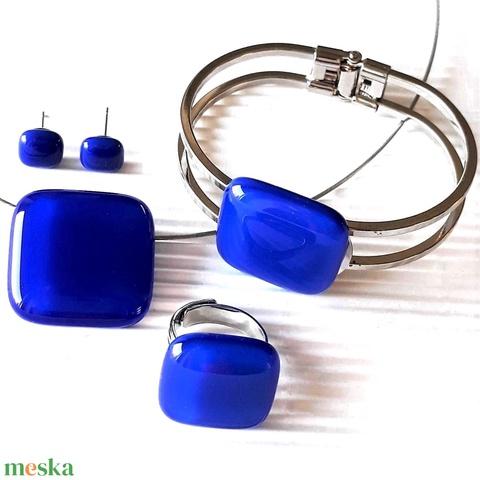 Királykék nyaklánc, fém pántos karkötő, gyűrű és fülbevaló orvosi fém bedugón, üvegékszer szett - Meska.hu