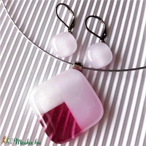 Tulipánbimbó rózsaszín-málnában mozaik üveg medál és fülbevaló, NEMESACÉL, üvegékszer szett  - Meska.hu