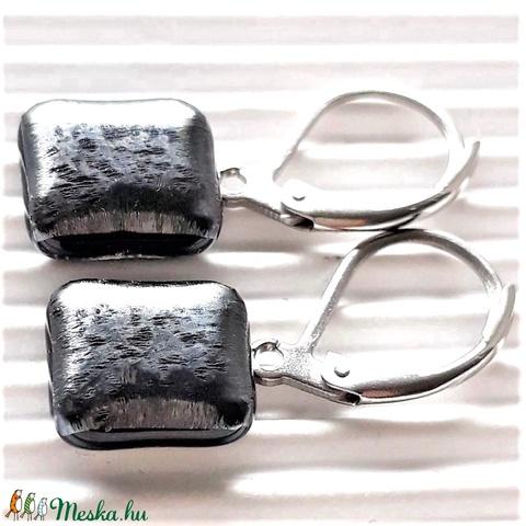 Ezüst szürke metál fény franciakapcsos üveg fülbevaló orvosi fém akasztón, üvegékszer - Meska.hu