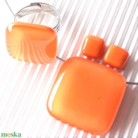 Selymes mandarin kocka üveg medál, gyűrű és fülbevaló orvosi fém bedugón, üvegékszer szett - ékszer - ékszerszett - Meska.hu