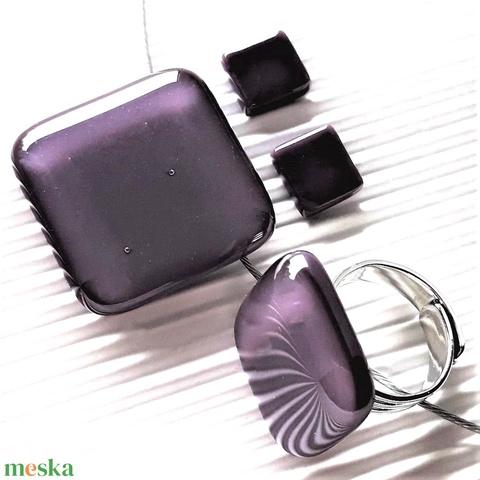 Orgonalila rombusz üveg medál, gyűrű és fülbevaló orvosi fém bedugón, üvegékszer szett - Meska.hu