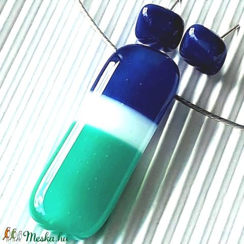 NEMESACÉL: Tengeri szellő üveg medál és bedugós fülbevaló, üvegékszer szett  - Meska.hu