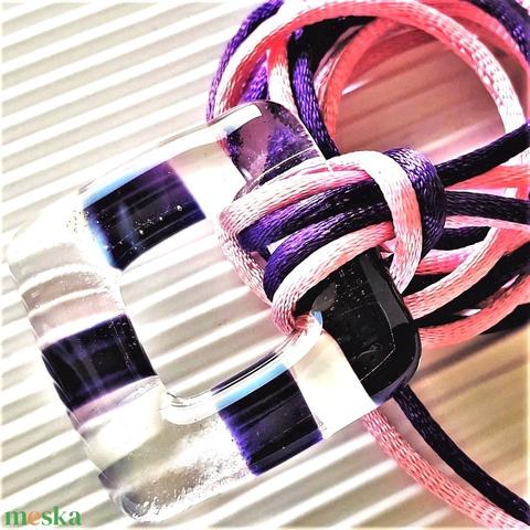 Vágyakozás lila felhőben maxi fémmentes üveg medál és fülbevaló orvosi fém bedugón, üvegékszer szett - Meska.hu
