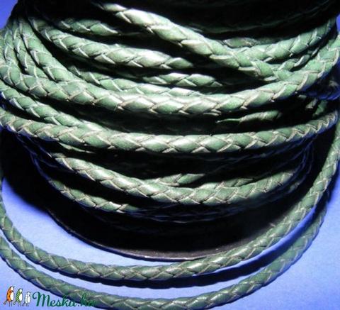 Fonott bőrszíj - 2,5 mm (10. minta/0,5 m) - zöld - Meska.hu