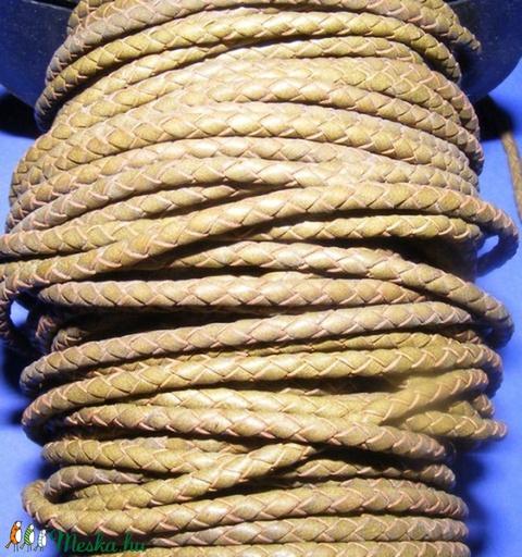 Fonott bőrszíj - 2,5 mm (8. minta/0,5 m) - khaki - Meska.hu