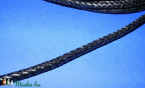Fonott bőrszíj - 6 mm (4. minta/0,5 m) - fekete - Meska.hu
